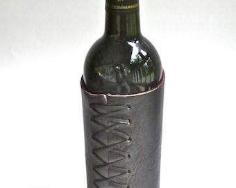Dark brown buffalo hide wine bottle cozy, bison leather wine cozy