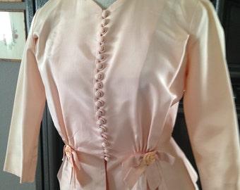 40s 50s Pink Taffeta Nipped Waist Dress Suit