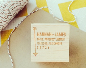 "Address Stamp with Arrow, Bohemian address stamp, hipster address stamp, modern custom address stamp, 2x2"" stamp"