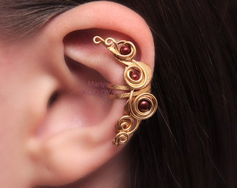No Piercing Cartilage Ear Jacket Red Wine Pearls in Gold Fairy Swirls of Magic/piercing imitation/conch cuff/ohrklemme ohr clip manschette