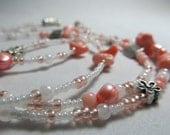 Bahama Bubble Bath - Light Pink / Peach Waist Beads with Gemstones - Real Coral and Freshwater Pearls