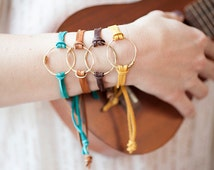 Recycled Guitar String Jewelry- Eternity Bracelet made with Recycled Guitar String and Soft Deerskin Leather