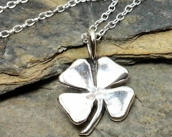 Shamrock Necklace - 925 Sterling Silver - Four Leaf Clover Irish Lucky Charm NEW