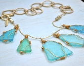 Blue Sea Glass 22K Gold Wire Wrapped Necklace