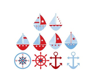 Lot of 10 Iron On NAUTICAL Sailboatsl  Appliques for  Baby Boy Shower DIY Shower Gifts and Decorations