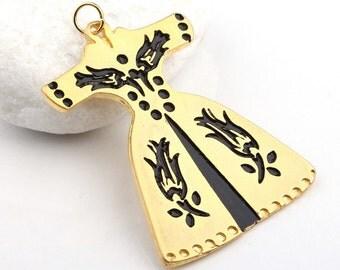 Black Enamel Ottoman Caftan Pendant, Gold Plated, 1 piece - Jewelry Supplies // GPP-245