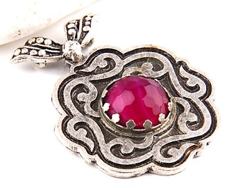 Silver Etched Jade Stone Pendant, 1 piece // SPP-172