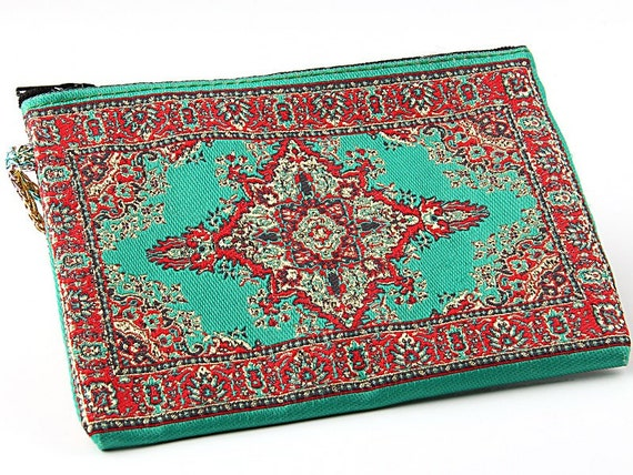 turkish woven rug carpet purse turquoise green red gold. Black Bedroom Furniture Sets. Home Design Ideas