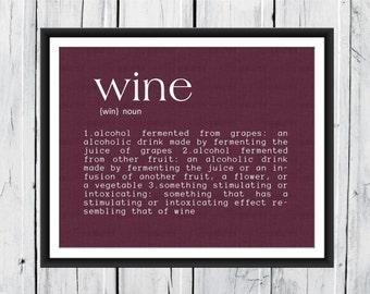 Wine Definition Print wine decor 8x10