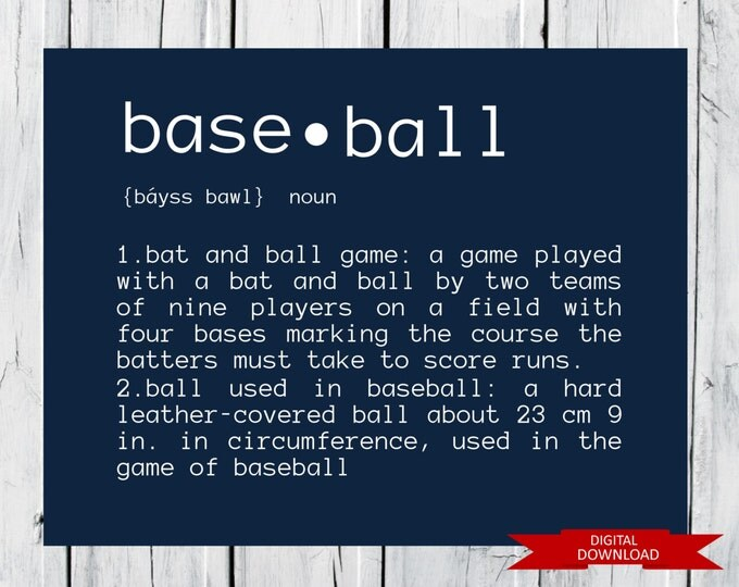 Baseball Definition  PDF Digital Download