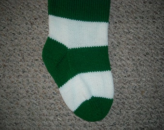 Personalized Christmas Stocking - 24 Inch - Green and White Striped - Hand Knit - Custom Order