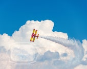Plane Soaring In the Clouds Photo.  Bi-Plane.  Planes.  Boy's Room Photo.  Airplane Photo. Puffy Clouds. Soaring. Soar. Fine Art Photography