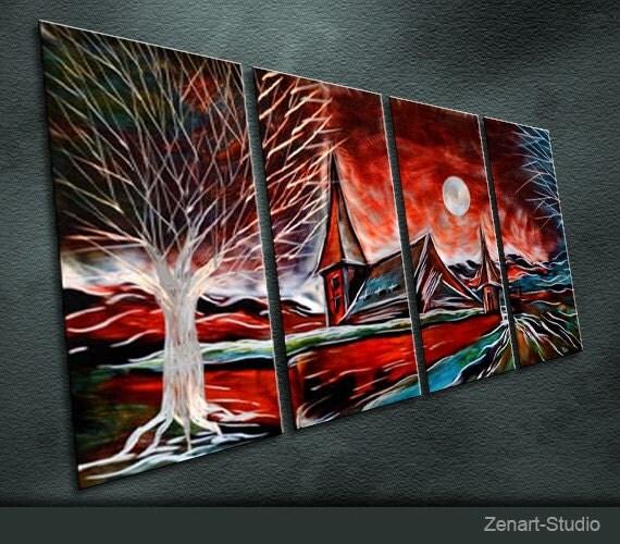"Original Metal Wall Art Modern Painting Sculpture Indoor Outdoor Decor ""Red Castle"" By Ning"