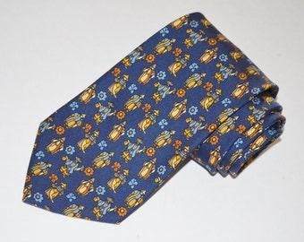 Salvatore Ferragamo Tie, Designer Necktie, Men's Neckwear, Blue Vintage Necktie, Asian Themed Tie, FREE SHIPPING, Christmas Gift, For HIm