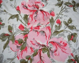 Vintage Silk Scarf, Pink and Red Flowers, Beautiful Floral Design