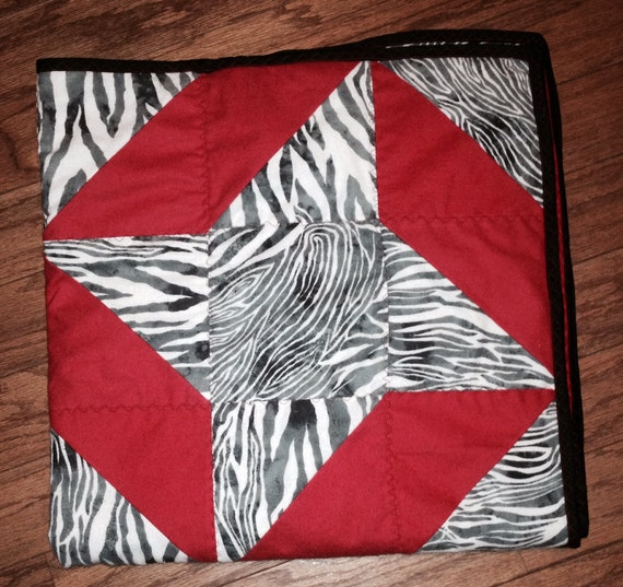 Zebra Ribbon Baby Quilt