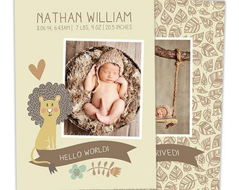 SALE Neutral Birth Announcement Template for Photographers - Baby Newborn Boy Photoshop Template - Photography Templates - BA163