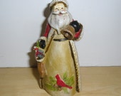 Vintage Christmas Ornament - Father Christmas with Bell - Hard Resin Christmas Ornament - Old Fashioned Christmas Decor