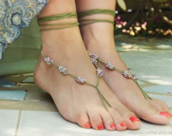 Forest fairy barefoot sandal, sexy foot thong, beaded foot jewelry, crochet barefoot sandles, Green silver purple