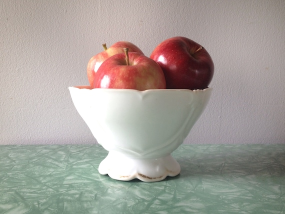 Vintage white ceramic centerpiece bowl with faded gold trim