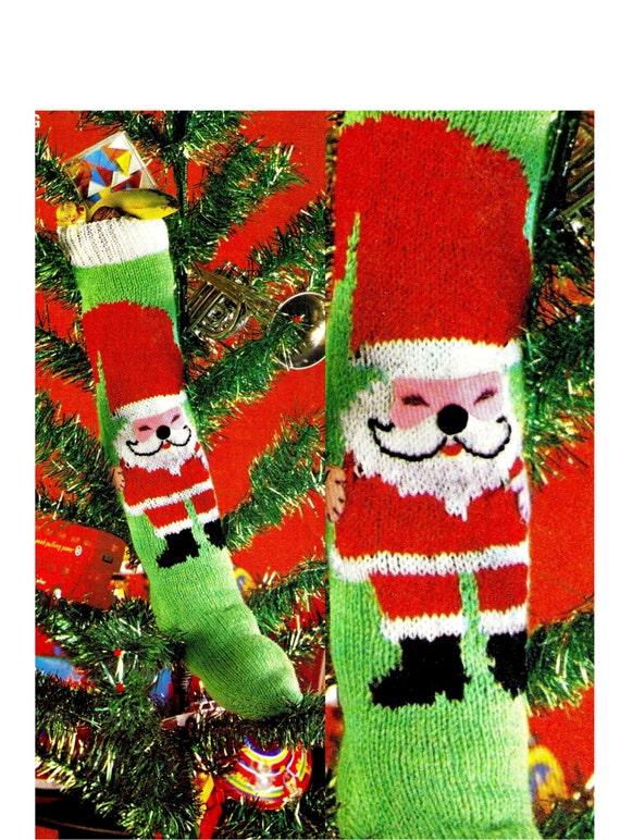 Xmas Knitting Patterns Uk : Vintage s christmas knit stocking pdf by kinsiewoolshop