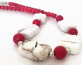 Red and White Necklace, Turquoise Necklace, Red Turquoise Necklace, White Stone Necklace, Chunky Stone Necklace