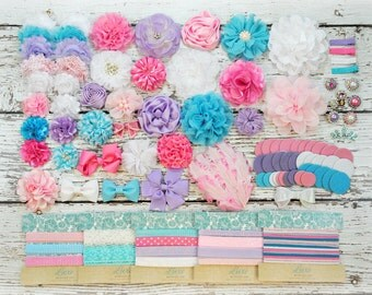 DIY Headband Making Kit - First Birthday Party - Baby Shower - Cotton Candy - MAKES 10 or 35+ HEADBANDS!! Pink, Light Pink, Lavender, Blue
