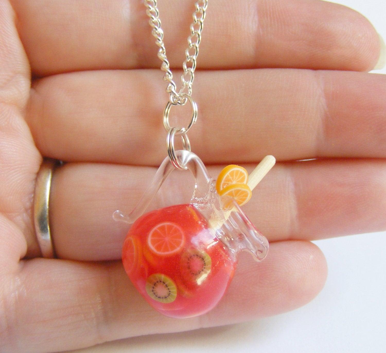 Quelle Couleurs Associer Avec Le Taupe : Food Jewelry Jug of Sangria Miniature Pendant Necklace by