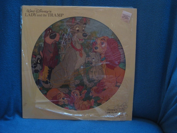 "MINT, Vintage, Walt Disney, Lady And The Tramp ""Original Motion Picture Soundtrack"" Picture Disc, Vinyl LP, Record Album, 1980"