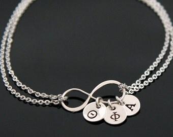 INFINITY Sorority Bracelet, Silver Infinity Initial Bracelet, Greek Initial Charm, Sister Infinity Bracelet, 1 up to 9 Charms.