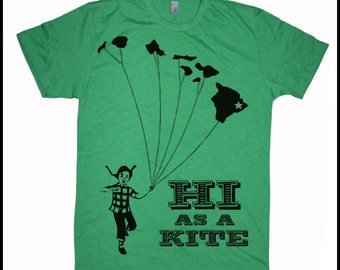 Men's Hawaii T-Shirt HI as a Kite Retro Vintage Revival Tee Hawaiian Islands