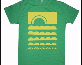Men's Hawaii T-Shirt Sun Clouds Japanese Woodblock Style Op Art Hawaiian Style