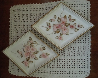 Lefton Porcelain Pink Flowers Triangle Wall Hangings 1940s