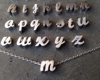 Cursive silver initial necklace, personalized, wedding gift, brides maid jewelry, mothers day