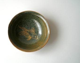 Ceramic Bowl in Blue and Green with Gold Fish by Cecilia Lind, studiolind