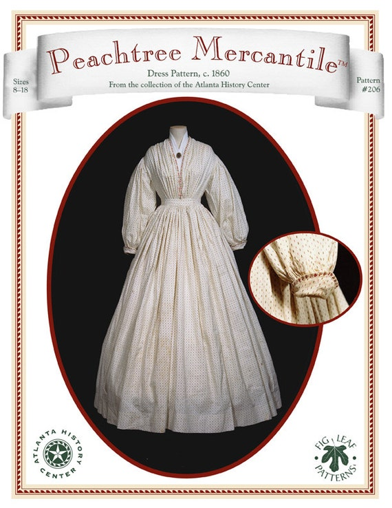 Peachtree Merchantile 206, Dress c.1860, size 08 to 18
