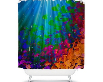 UNDER THE SEA Colorful Art Shower Curtain Abstract Painting Mermaid Ocean Waves Splash Rainbow Ombre Washable Beach Decor Modern Bathroom