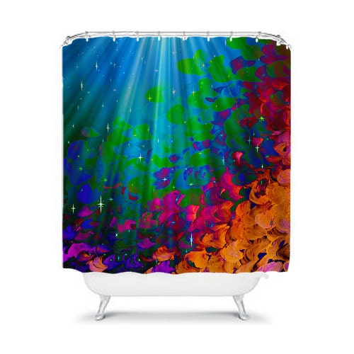 Under the sea colorful art shower curtain abstract painting Colorful shower curtains