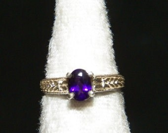 Engraved Ring with Amethyst Size 6