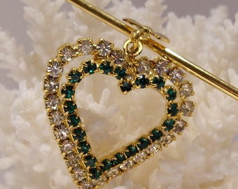 Green and White Rhinestone Heart on a Gold Tone Safety Pin Brooch