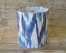 Lamp Shade Drum Lampshade Ikat in Blue and White - READY TO SHIP