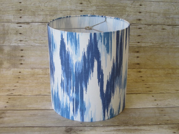 Lamp Shade Drum Lampshade Ikat In Blue And White Ready To
