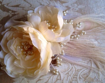 Flower French Barette, Bridal Hair Accessory  Cream Peony; Exquisite and Unique