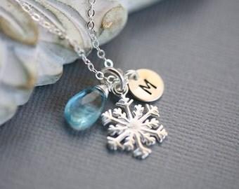 SNOWFLAKE necklace,custom monogram,initial necklace,birthstone,custom font,custom birthstone,WINTER WEDDING,Bridesmaids Gift,Wedding jewelry