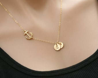 Gold sideways anchor Necklace,initial necklace,hand stamped initial,Sailors Anchor,Wedding Jewelry,Bridesmaid gift,hope anchor necklace