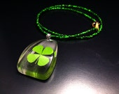 Genuine 4-leaf Clover Pendant with Medium Green Seed Bead Necklace