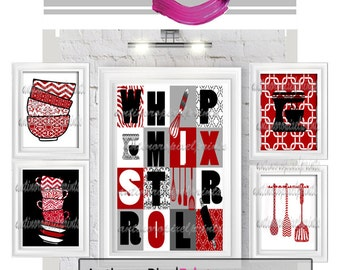 Red Black White Kitchen Art Gallery Utensils  - Set of (5) Prints (1) 8x10 (4) 5x7  - (UNFRAMED) Your Colors, Sizes Available.