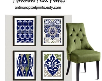 Navy Taupe Green Vintage / Modern inspired  Art Prints Collection  -Set of 4 - 5x7 Prints -   (UNFRAMED)