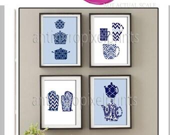 Navy Damask Kitchen Tools Navy Blue White Art Collection  -Set of (4) - 8x10 Prints (Unframed)