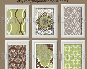 Vintage / Modern Inspired Art Prints Collection -Set of 6 - 8x10 Prints  - Featured in Green Grey Chocolate White (UNFRAMED)